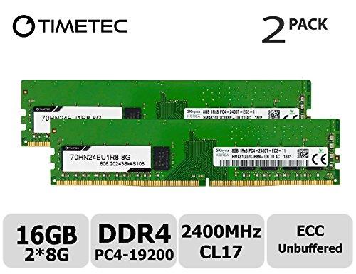 Timetec Hynix 16GB Kit (2x8GB) DDR4 2400MHz PC4-19200 Unbuffered ECC 1.2V CL17 1Rx8 Single Rank 288 Pin UDIMM Server Memory RAM Module Upgrade (16GB Kit (2x8GB))