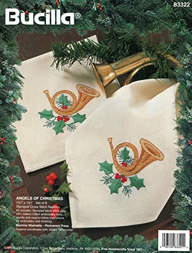 Bucilla Angels of Christmas Stamped Cross Stitch Napkins Kit