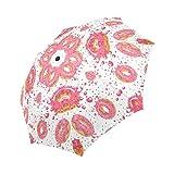 InterestPrint Pink Glaze Donut Windproof Auto Open And Close Folding Umbrella, Decilious Dessert Lightweight Outdoor Travel Sun And Rain Umbrella UV Protection