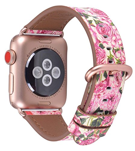 daa63a1aa53f4 JSGJMY Compatible for Iwatch Band 38mm 40mm S M Women Genuine Leather Loop  Replacement Strap Compatible for iWatch Series 4 (40mm) Series 3 2 1  (38mm)
