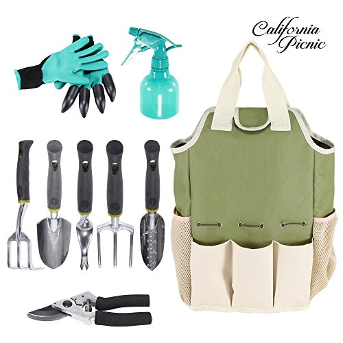 9 Pieces Garden Tools Set Organizer Gardening Tote Tool Kit Gloves