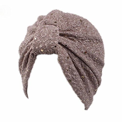 SUKEQ Twist Pleated Ruffle Turban Hat Sparkly Sequin Stretch Hair Wrap Chemo Cap Scarf Headwear for Cancer Patients (Gray)