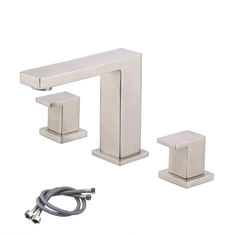 KES Bathroom Sink Faucet 3-Hole Two Handle Vanity Sink Widespread Faucet SUS304 Stainless Steel Minimalist Brushed Finish, L4320LF-2