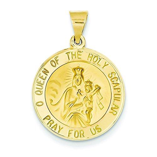 Satiné poli 14 carats et de la reine Médaille Saint-JewelryWeb Scapular réversible