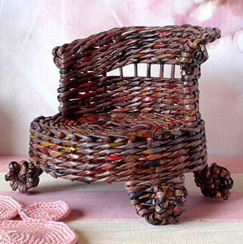 - Doll Couch Wicker Miniature Unique Artisan Made Victorian Style Sofa. Brown Midcentury Furnishing