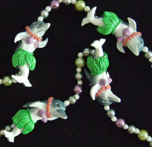Hula Dancing Dolphins Luaua Mardi Gras Bead Necklace Spring Break Cajun Carnival Festival New Orleans ()