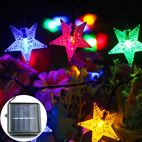 (mankinlu Outdoor Solar Star String Lights,Multicolor Solar Powered Star Shaped Twinkle Fairy String Lights,24.5ft 50LEDS 8Modes Waterproof Christmas Tree String Lights for Gardens, Patio, Lawn Decor.)