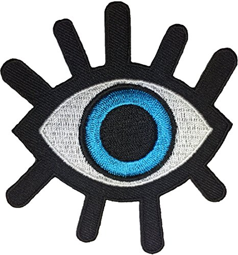 Eye Eyeball Tattoo Punk Rock Retro Applique Sew on Iron on Embroidered Patch - Blue (EYE-BLUE) ()