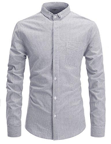 (NEARKIN (NKNKS677) Slim Cut Look Short Collar Stripe Pattern Seersucker Shirt For Men BLACK US S(Tag size S))