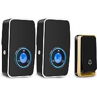 Wireless Doorbell Waterproof, AURTEC Door Chime Kit with 2 Plug-in LED Flash Receivers & 1 Press Self-Powered…