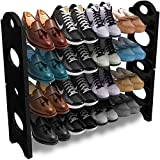 NEXT INNOVATION Traders Plastic Rod Foldable Shoe Rack with 4 Shelves, Black