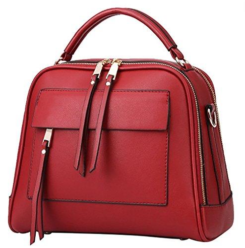 QZUnique Women's Cowhide Genuine Leather Fashion Cute Double Zipper Top Handle Bag Cross Body Shoulder Bag (Louis Vuitton Cowhide Leather)