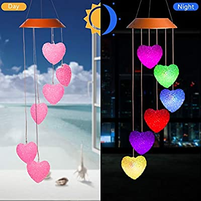 xxschy Heart Shaped LED Solar Wind Chimes Outdoor - Waterproof Solar Powered LED Changing Light Color Mobile Romantic Wind-Bell Six Heart-Shaped Wind Chimes for Home, Party, Night Garden Decoration