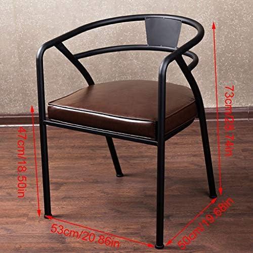 HMDJW American Iron Chaise de Salle a Manger Rétro Négociation Lounge Chaise Café Chaise Rembourrée Chaise Rampe Creative Restaurant Chaise Taille: 73x50x53cm