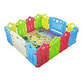 Baby Playpen Kids Activity Centre Safety Play Yard Home Indoor Outdoor New Pen (multicolour, Classic set 14 panel)and Baby Care Play Mat Foam Floor Gym