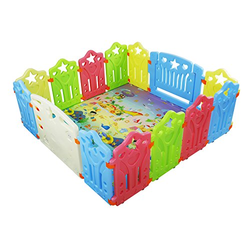 Baby Playpen Kids Activity Centre Safety Play Yard Home Indoor Outdoor New Pen (Multicolour, Classic Set 14 Panel) ()