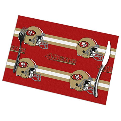 Sorcerer Custom Placemats Set of 6 American Football Team San Francisco 49ers Heat-Resistant Washable Easy to Clean Polyester Kitchen Dining Table Mats 12 x 18 Inches (Table Dining Francisco San)