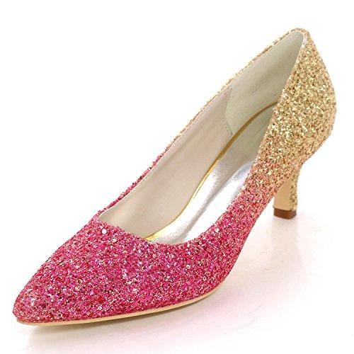 De Zapatos yc Dama Punta Tacón Cómodo Prom Red Boda Alto En Lentejuelas Las Honor Verano L Mujeres EqwxCW5wd