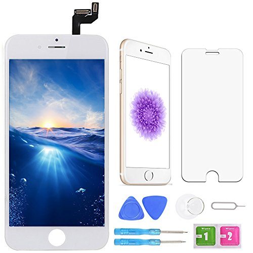 Phone Lcd Screen Protector - Screen Replacement for iPhone 6S White 4.7 Inch LCD Display Touch Screen Digitizer Replacement with Repair Kit and Screen Protector (6S-White)
