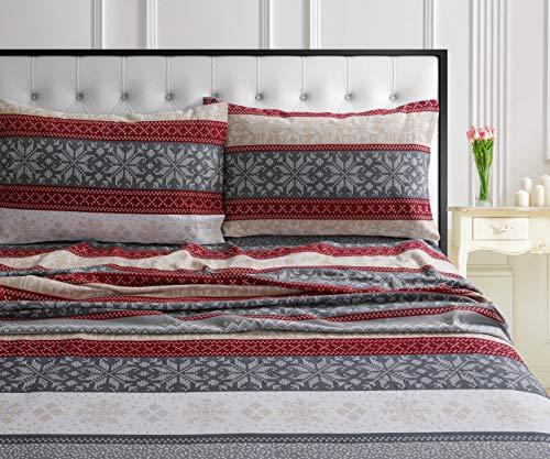 Tribeca Living ALKN170SHEETQU Deep Pocket Sheet Set, Queen, Alpine Knit