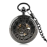 Luxury Pocket Watch, Retro Pattern Case Black Roman Number Pocket Watch, H