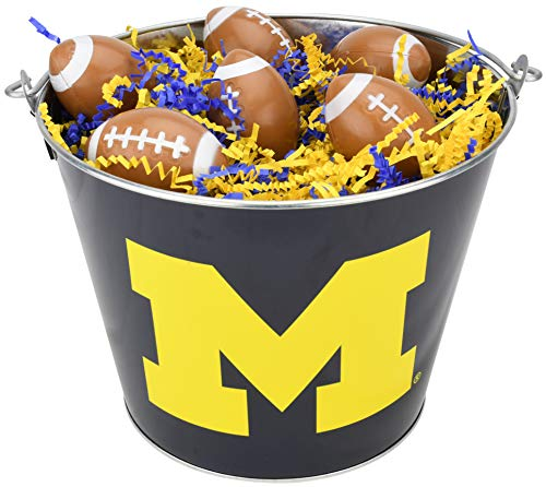 (U of M University of Michigan NCAA Easter Basket Incl. Fillable Sports Eggs and Colored Grass Football Basketball Baseball Soccer Easter Gift Ideas (Football))