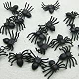 50pcs 2 * 1.4cm Plastic Black Spider Halloween Decoration Festival Supplies Funny Prank Toys Decoration Realistic Prop