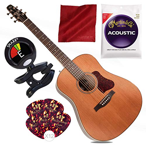 Seagull Coastline Momentum HG Acoustic/Electric Guitar with Tuner and Basic - Guitar Cutaway Acoustic Dreadnaught Electric