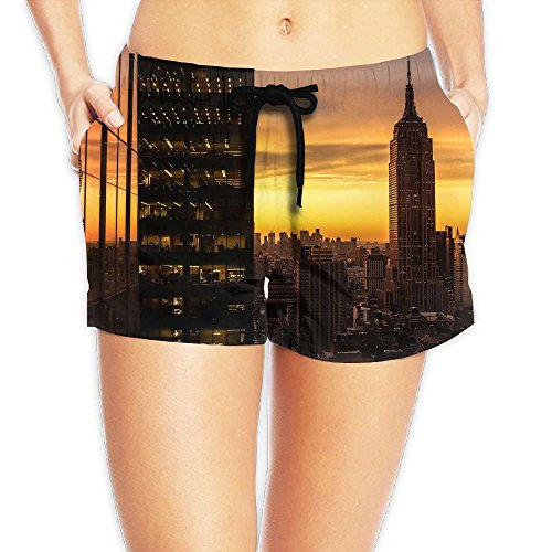 WHENLUCKY Hip Hop New York Gold Sunsets Beach Shorts Summer Women's Shorts with Waist Tie Boardshorts by WHENLUCKY