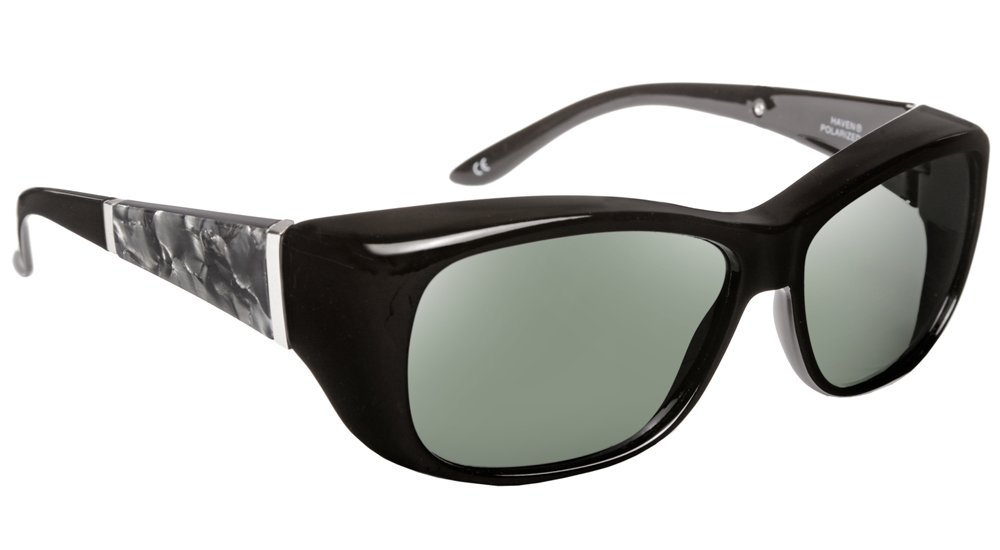 Haven Fitover Sunglasses Morgan in Black/Smoke Marble & Polarized Grey Lens