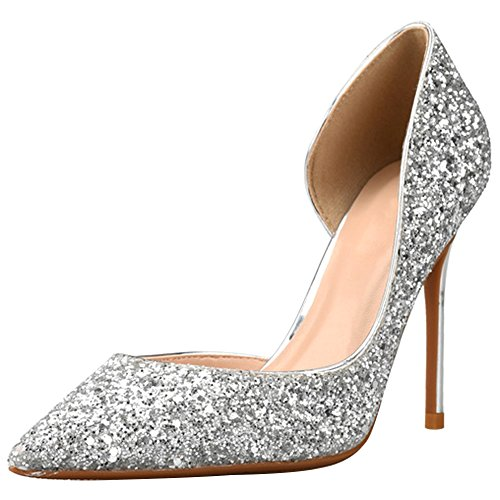 Wealsex Ladies Women's Sexy High Heels Pointed Toe Sequins Color Gradient Court Shoes Party Pumps Clubbing Work Wedding Prom Banquet Shoes Silver