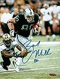 Zach Miller Signed 8X10 Photo Autograph Raiders w/Ball vs. Saints UDA Upper Deck