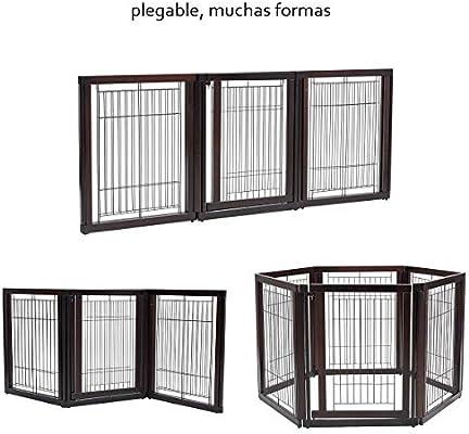 COSTWAY 2 en 1 Barrera de Seguridad de Madera para Niños Perros Parque Escalera Puerta Protección Flexible Plegable: Amazon.es: Bebé