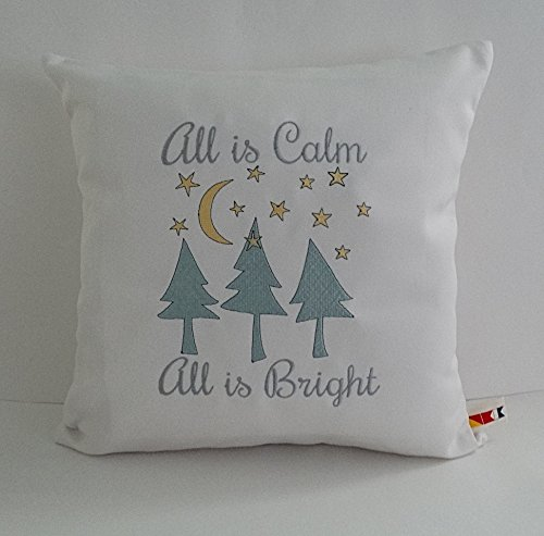 """Sunbrella Canvas Natural Embroidered """"All Is Calm All Is Bright"""" Christmas Indoor Outdoor Pillow Cover - Custom made by the OBA Canvas Co."""