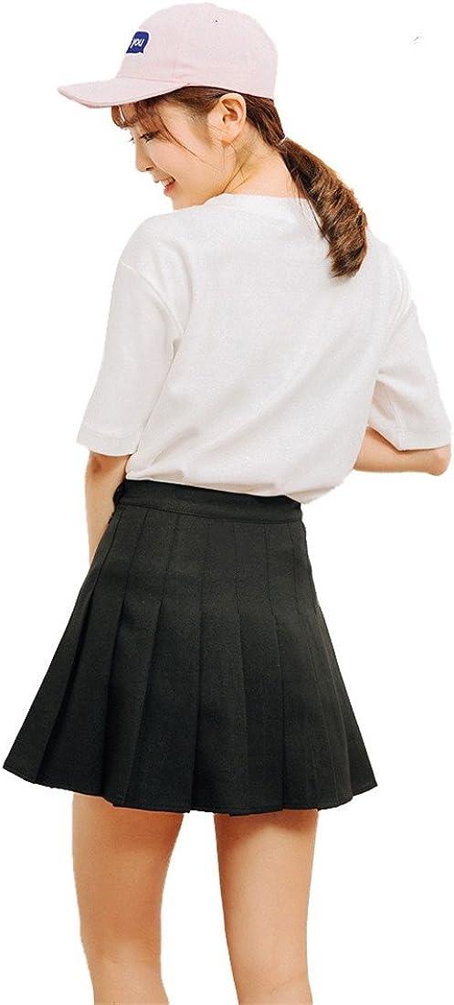 Beautifulfashionlife Womens High Waisted Pleated Solid Mini Shorts Skate Skorts
