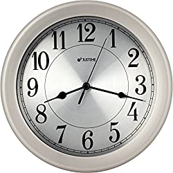 8.5 inch Brushed Metal Water Resistant Wall clock, Special for Small Space, Office, Boats, RV (W86007 Brushed Chrome)