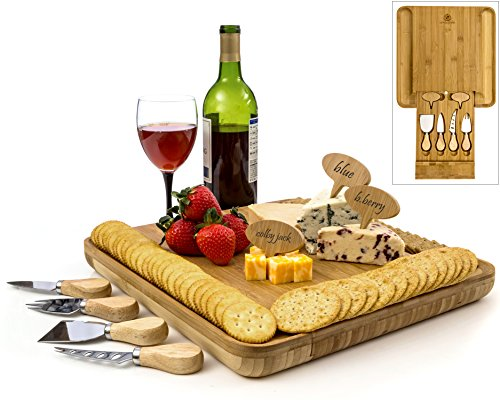 Bamboo Cheese Board Set Serving Tray Platter with Cutlery Set and Slide-out Drawer, Big Meat Cutting Plate Wood Charcuterie Board Plate - BONUS Cheese labels, Magnetic Lock. Designed by Radiant Royals