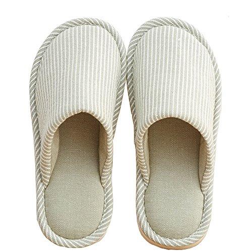Teerfu Femmes Pantoufles Maison Hiver Chaud Confortable Anti-dérapant Chaussures Dintérieur Tricot Confort Vert