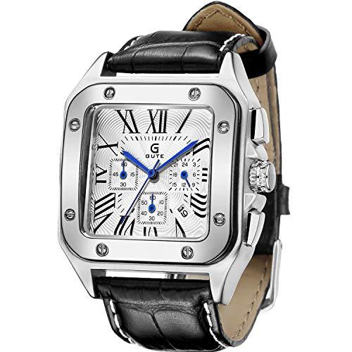 GuTe Men's Quartz Watch, Luxury Chronograph Calendar Analog Date Roman Business Wristwatch with Blue 6 Hands (Black.)