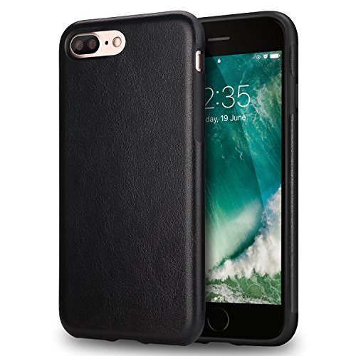 (TENDLIN iPhone 7 Plus Case iPhone 8 Plus Case Premium Leather Outside and Flexible TPU Silicone Hybrid Slim Case for iPhone 7 Plus and iPhone 8 Plus (Black))