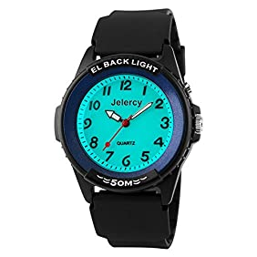 Jelercy Casual Boys Analog Quartz Watch 164FT Water Resistant White Dial Arabic Numbers EL Backlight Luminous Watches Blue,Easy Reader