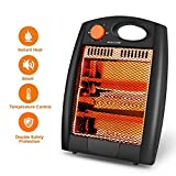 Portable Radiant Heater - Portable Space Heater Quartz Infrared Heater 700W Infrared Radiant Heater Energy Efficient Space Heater Quartz Infrared Heater Overheat & Tip-Over Protection