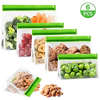 GLAMFIELDS Stand up Reusable food Storage Bags - Reusable Snack Bags Extra Thick Reusable Sandwich Bags FDA Grade Freezer Ziplock Lunch Bags for Food (6pack 1 storage bag 3 lunch bags 2 snack bags)