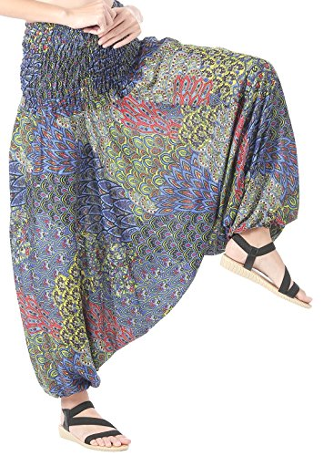 CandyHusky Women Gypsy Hippie Boho Baggy Loose fit Elastic Jumpsuit Harem Pants (Peacock Tail Blue) by CandyHusky (Image #1)