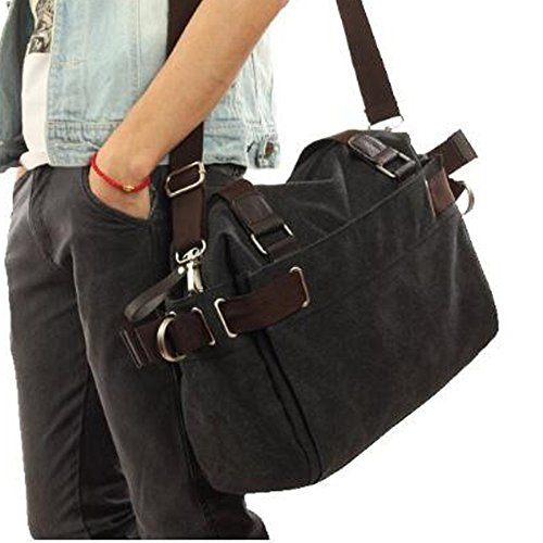 Shoulder Hiking Satchel Moving Outdoor Travel Men's Trendy Leisure Canvas Bag Black School wIHq7TU