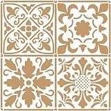 TODO-STENCIL Stencil Deco Background 097 Tiles 2 layers. Stencil Size: 20 x 20 cm (7,9 x 7,9 in). Design Size: 18,2 x 18,2 cm (7,2 x 7,2 in)