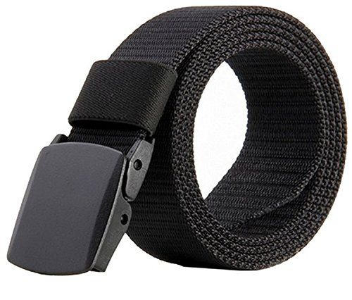 JASGOOD Nylon Canvas Breathable Military Tactical Men Waist Belt with Plastic Buckle(Suit for Pant Size Below 45Inch,01-Black) (Fabric Mens Belt)