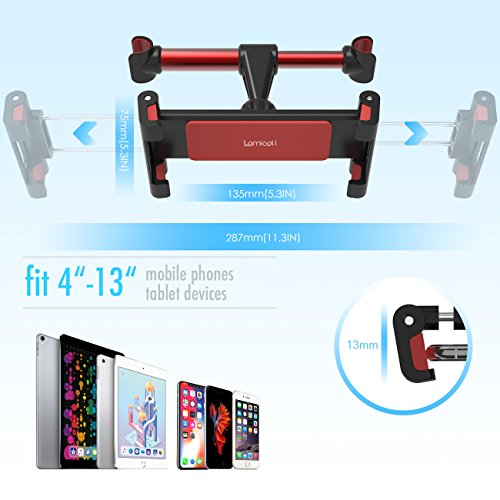 Car Tablet Headrest Mount, Lamicall iPad Holder : Back seat Stand Cradle for 4.7~13 inch like new iPad 2017 Pro 9.7, 10.5, Air mini 2 3 4, Accessories, Tab, E-reader, Smartphones and Tablets - Red by Lamicall (Image #3)