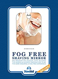 Deluxe Shave Well Fog-free Shower Mirror - Made in the USA - 33% larger than the Original Shave Well Anti Fog Shower Mirror