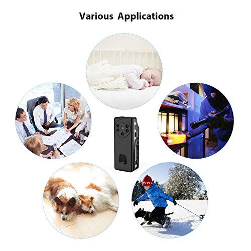Conbrov Mini Security Camera DV12 720P Wearable Nanny Cam with Night Vision and Loop Recording, Video Recording Camera for Home and Office Monitoring